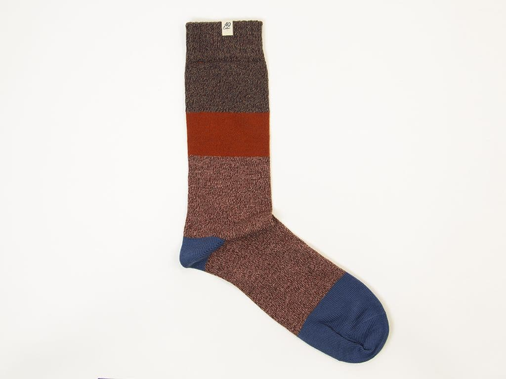 Striped Melange Thick Organic Cotton Socks