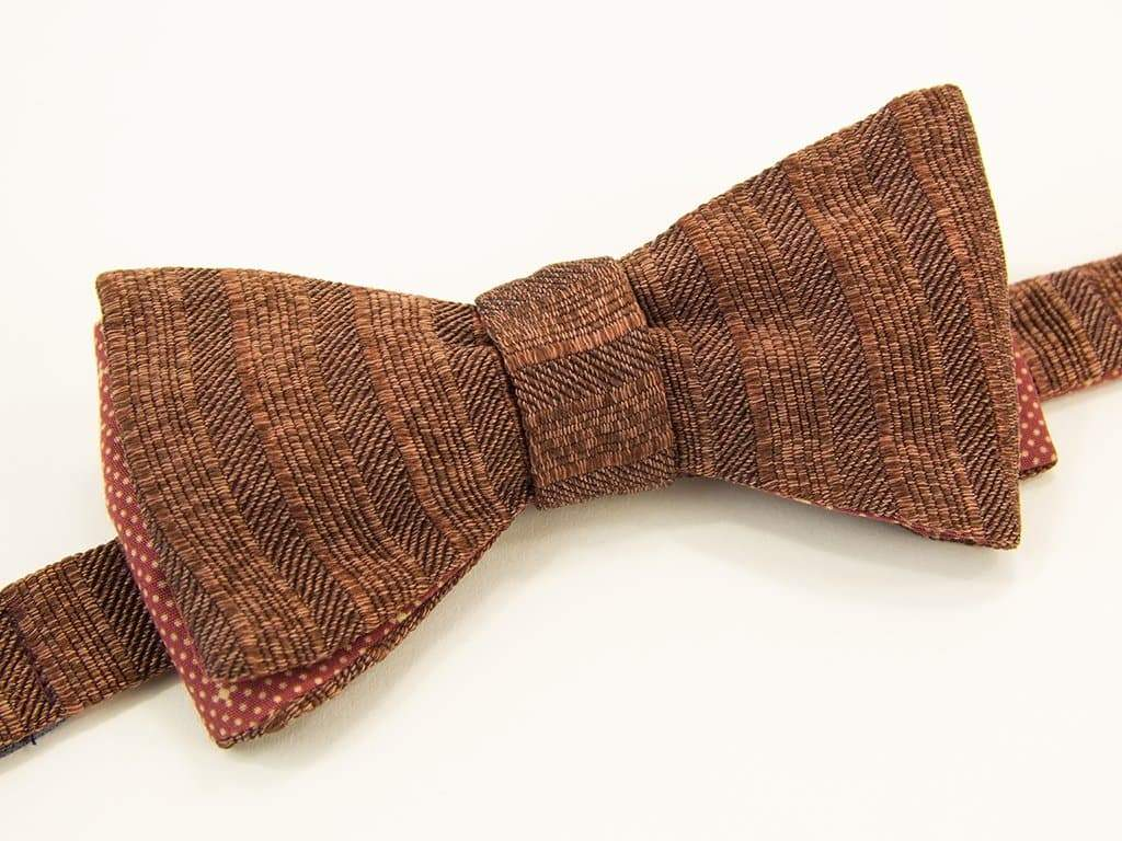 Multi Striped Washed Silk Butterfly Bow Tie