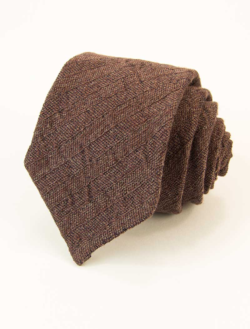 Brown Herringbone Washed Linen & Silk Tie | 40 Colori
