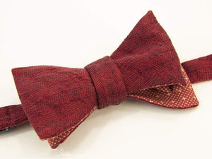 Herringbone Washed Linen & Silk Butterfly Bow Tie