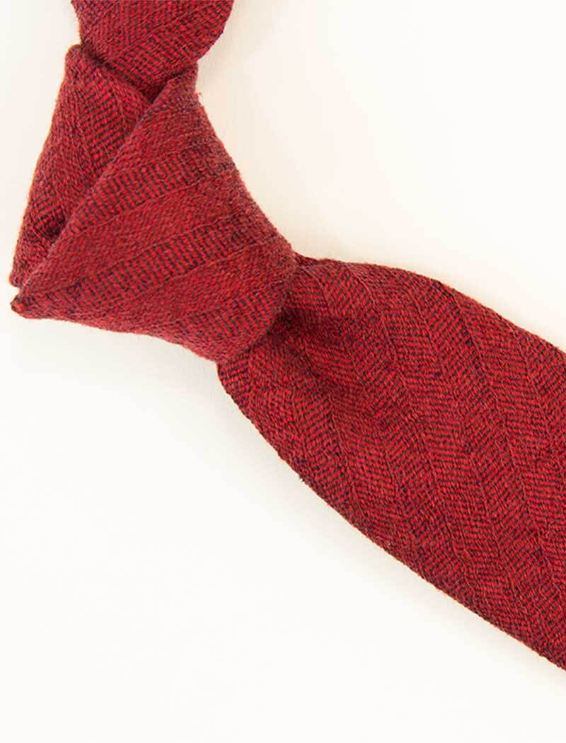 Red Herringbone Washed Linen & Silk Tie | 40 Colori
