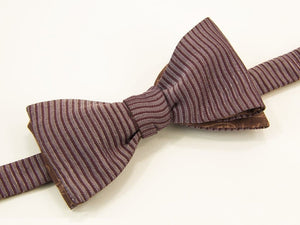 Small Striped Washed Silk Butterfly Bow Tie