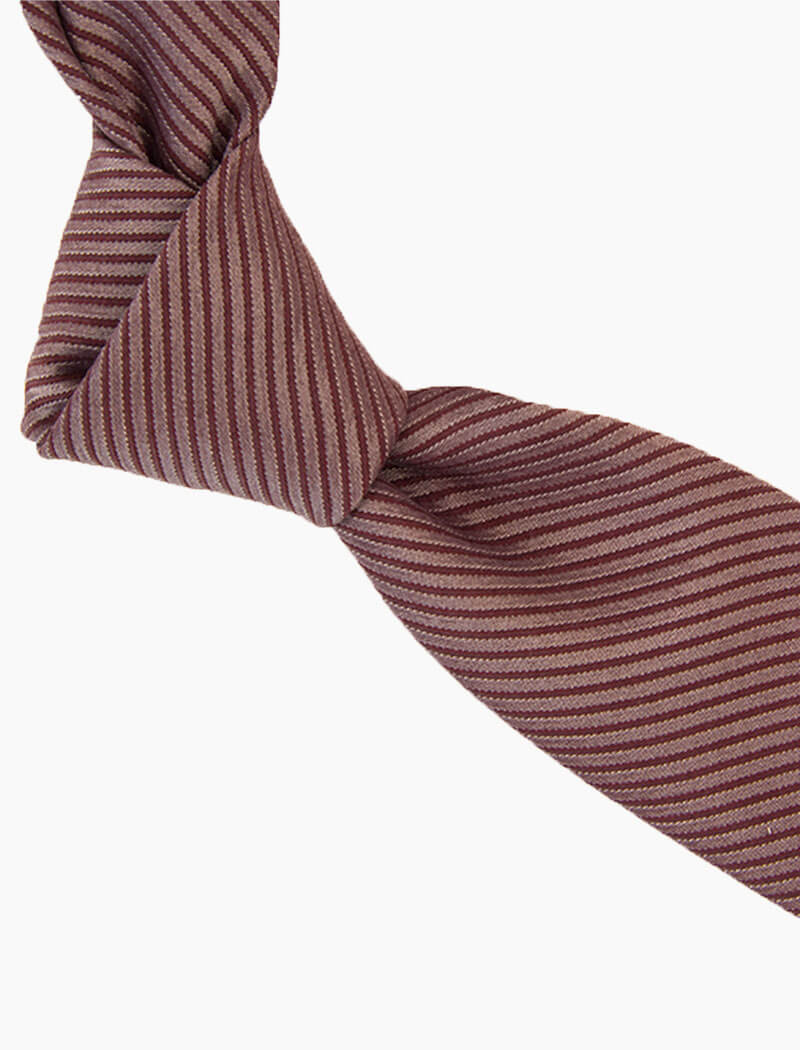 Red Small Striped Washed Silk Tie | 40 Colori