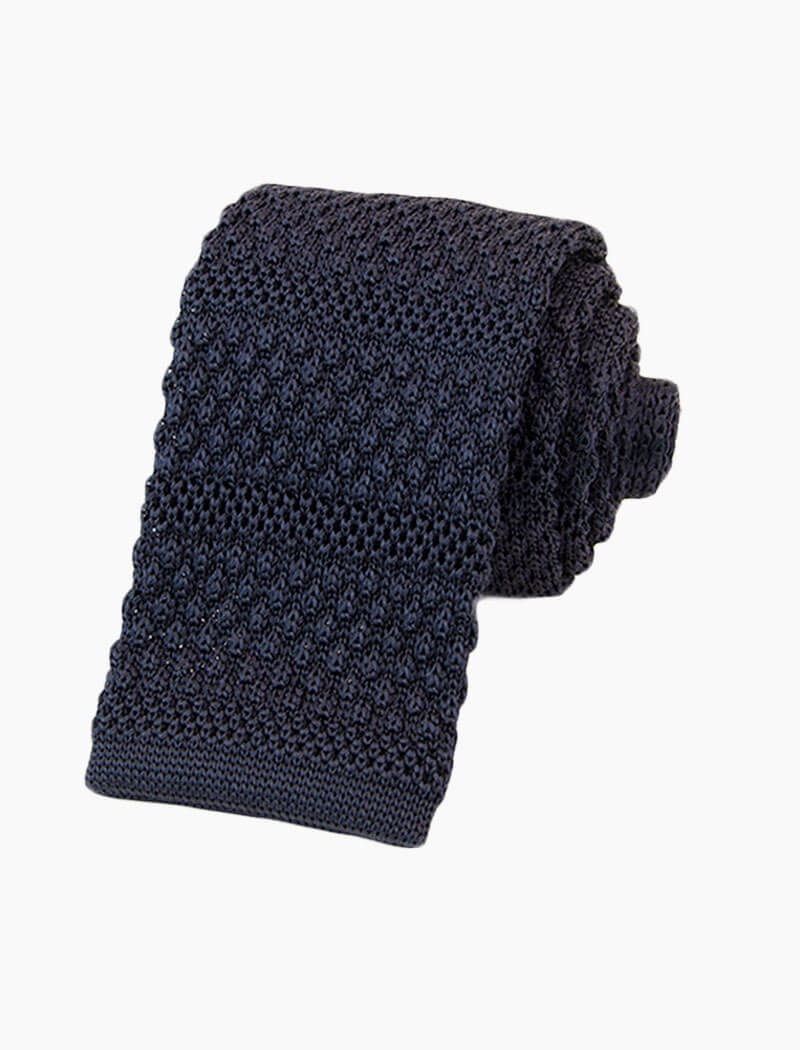Navy Solid Textured Striped Silk Knitted Tie | 40 Colori
