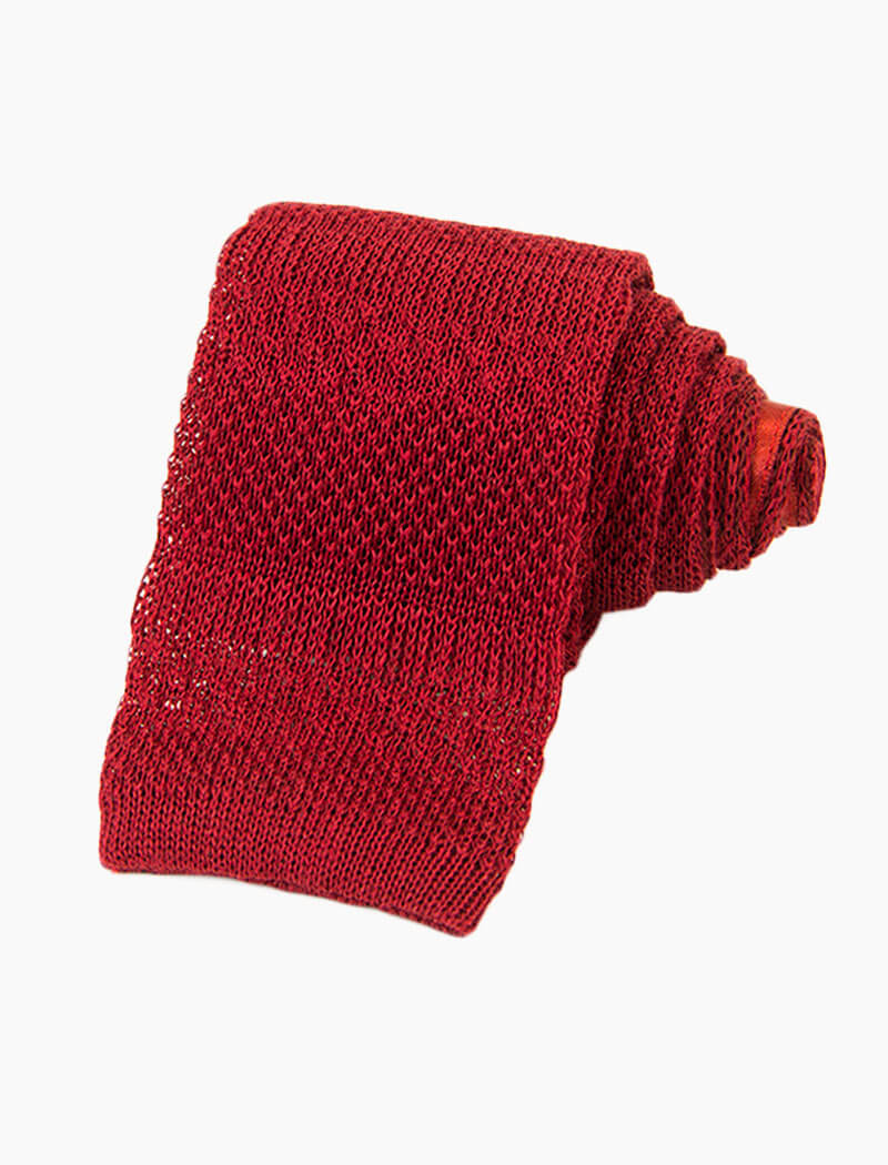 Red Textured Striped Linen Knitted Tie | 40 Colori