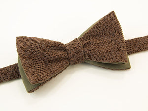 Solid Textured Striped Linen Knitted & Woven Butterfly Bow Tie