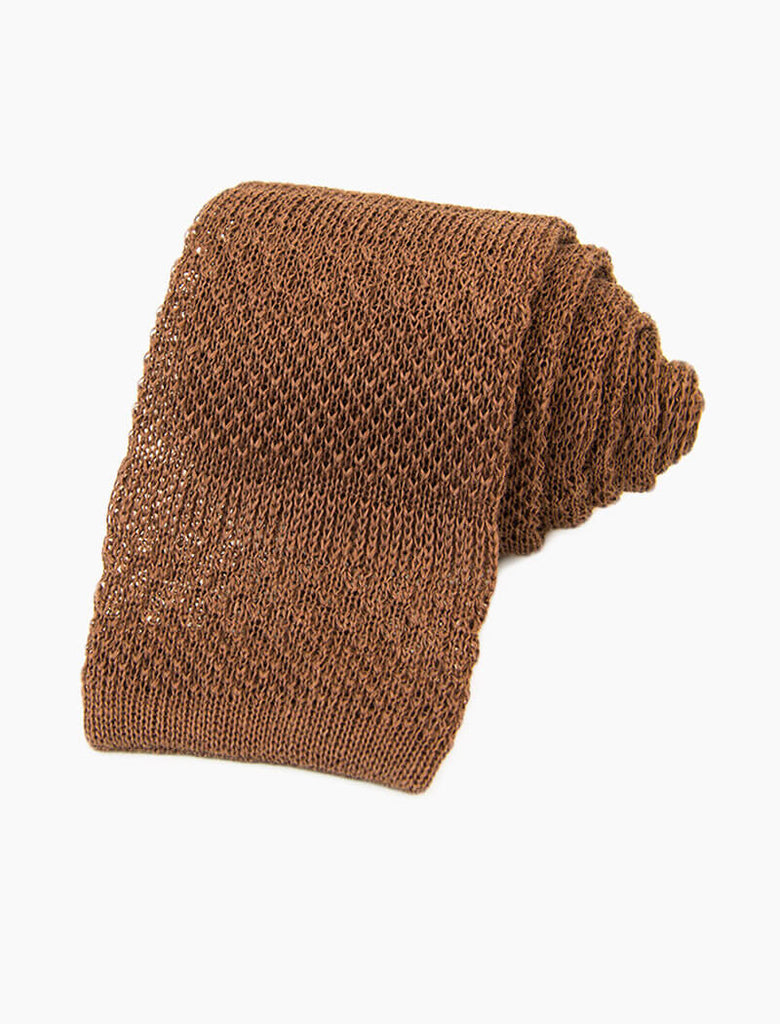 Solid Textured Striped Linen Knitted Tie