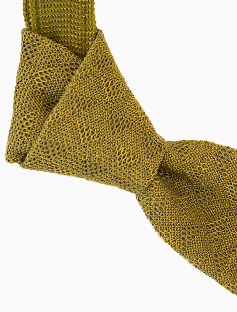 Olive Green Diamonds Linen Knitted Tie | 40 Colori