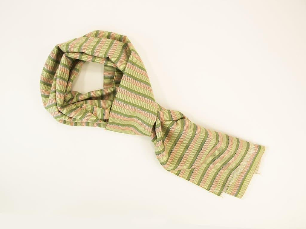 Melange Striped Cotton Blend Woven Scarf