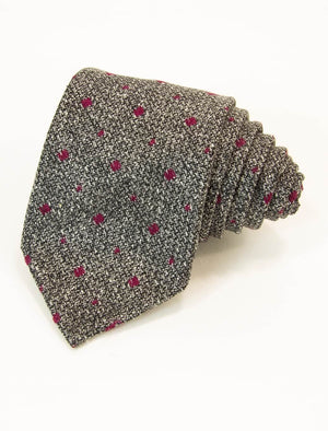 Grey & Pink Small Squares Wool & Silk Tie