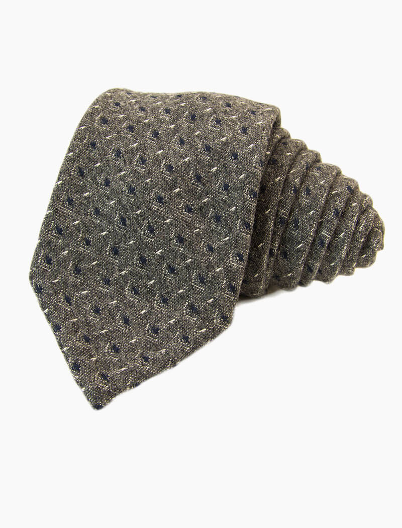 Grey Diamonds Wool Tie