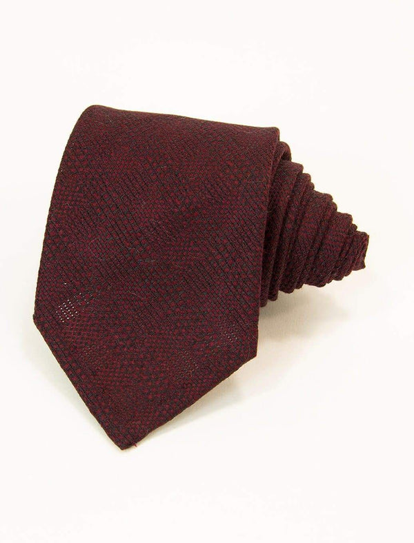 Red & Black Tartan Wool & Silk Tie