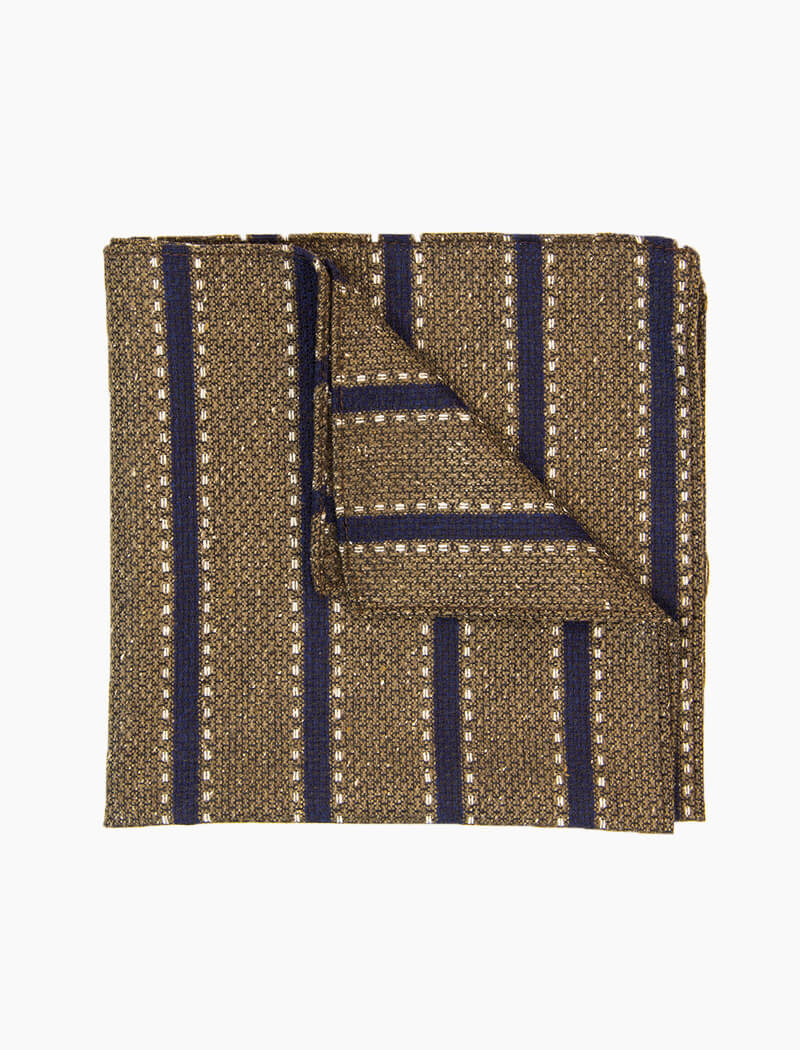 Brown & Blue Striped Wool Pocket Square