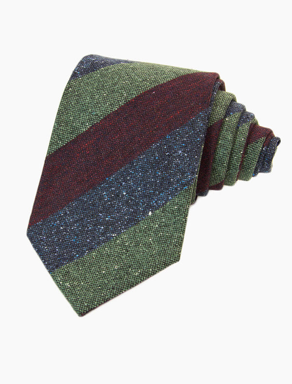 Burgundy Three Toned Striped Silk & Wool Tie