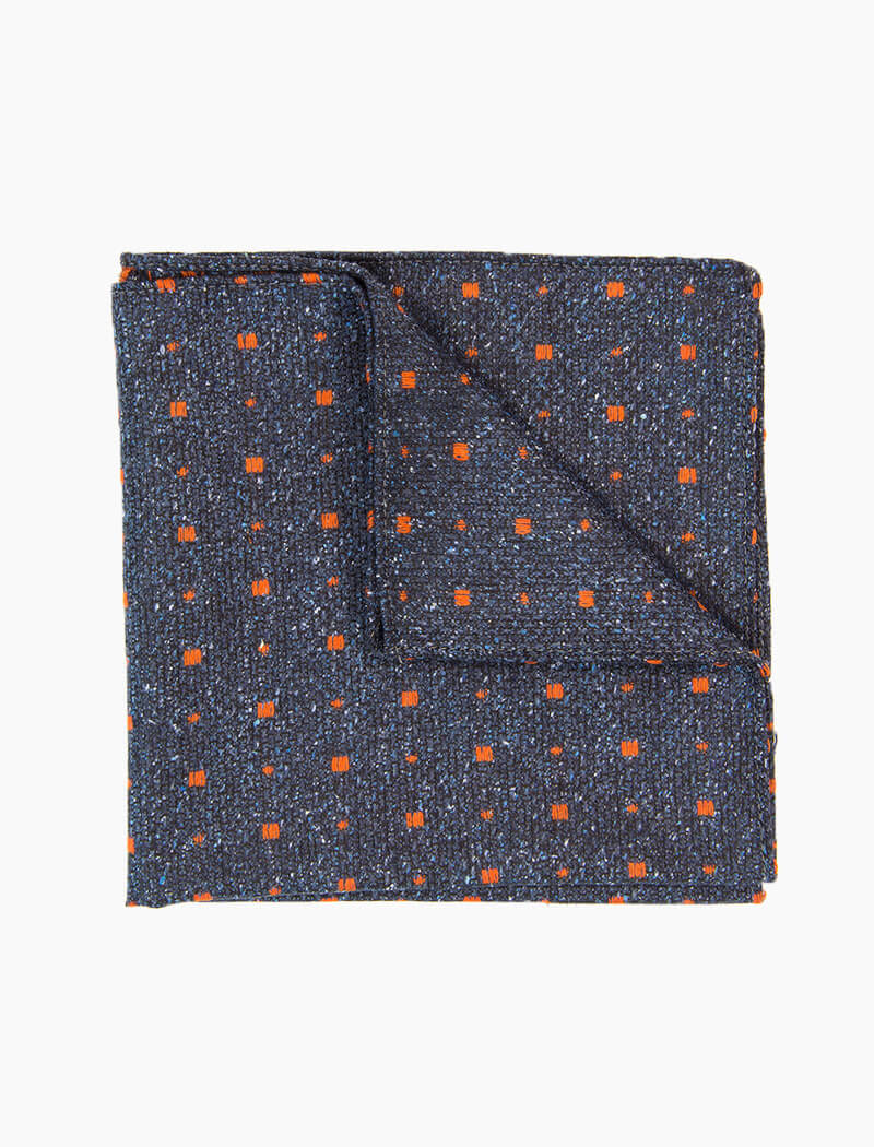 Petrol Blue & Orange Small Squares Wool & Silk Pocket Square