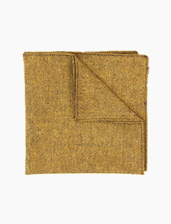 Mustard Macao Wool & Silk Pocket Square