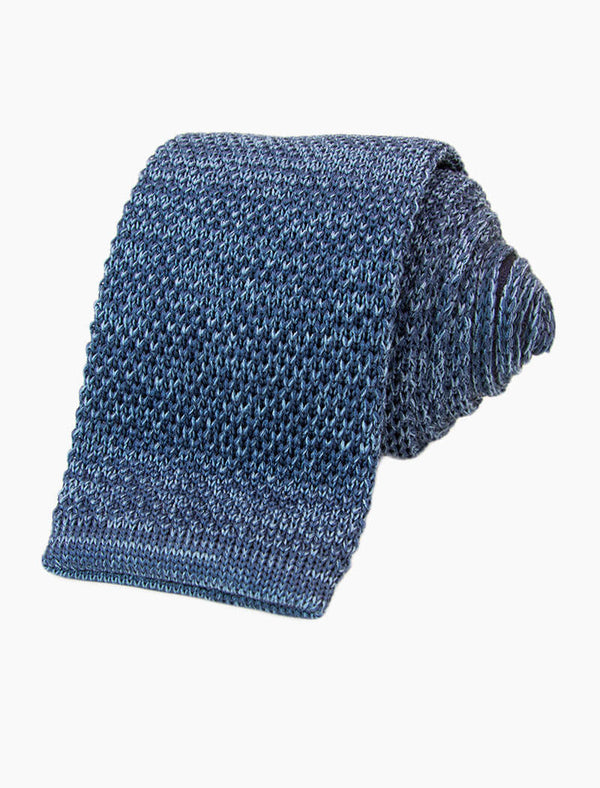 Blue Melange Shappe Silk Knitted Tie