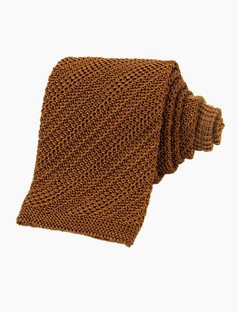 Rust Solid Silk Knitted Tie | 40 Colori