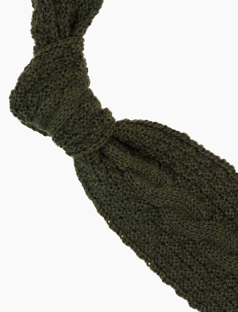 Green Braided Wool Knitted Tie | 40 Colori