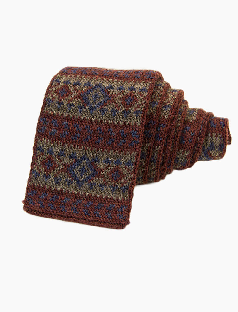 Burgundy Fair Isle Wool Knitted Tie | 40 Colori