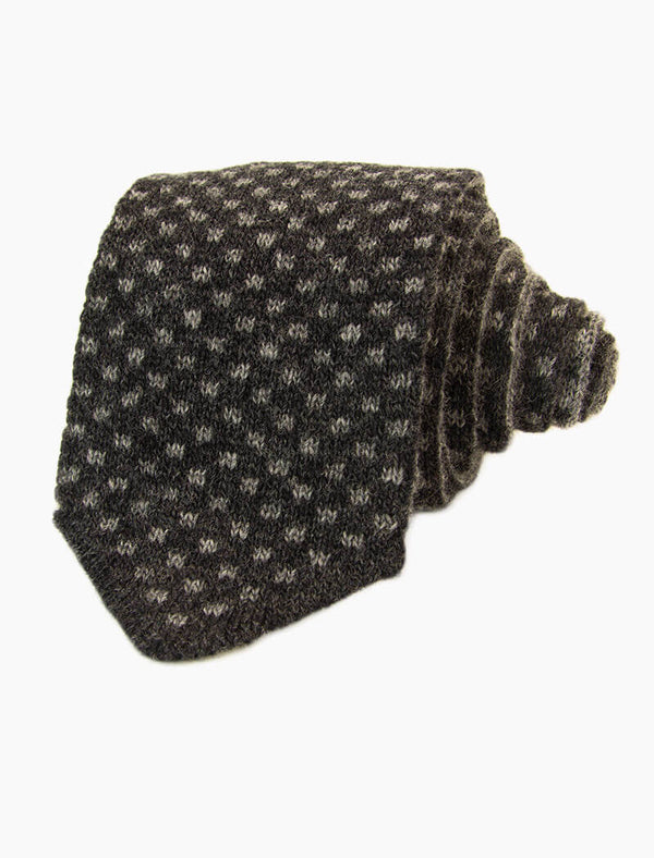 Charcoal & Grey Small Squares Reversible Knitted Tie