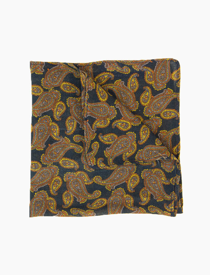 Petrol Blue Paisley Wool & Cashmere Pocket Square