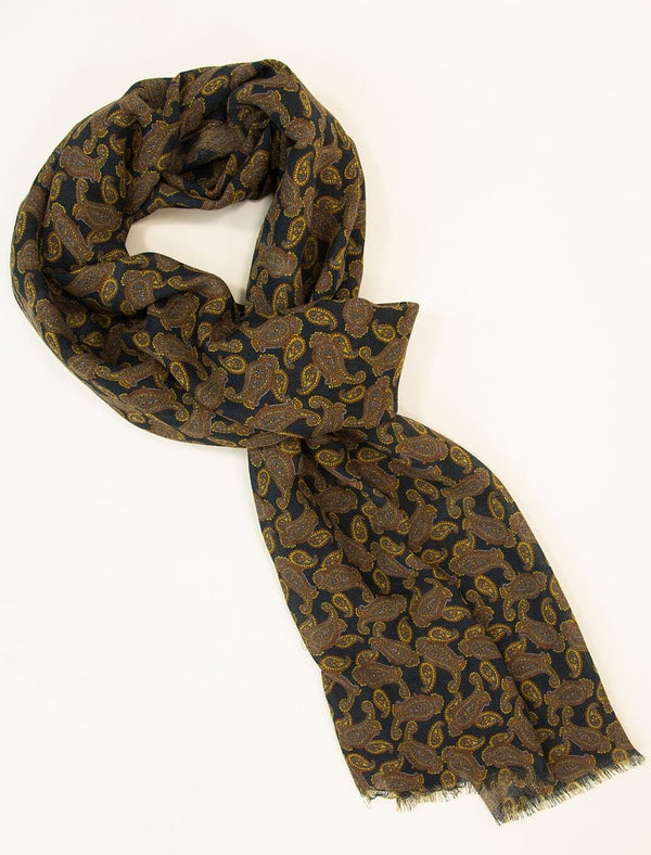 Petrol Blue Paisley Printed Wool & Cashmere Scarf