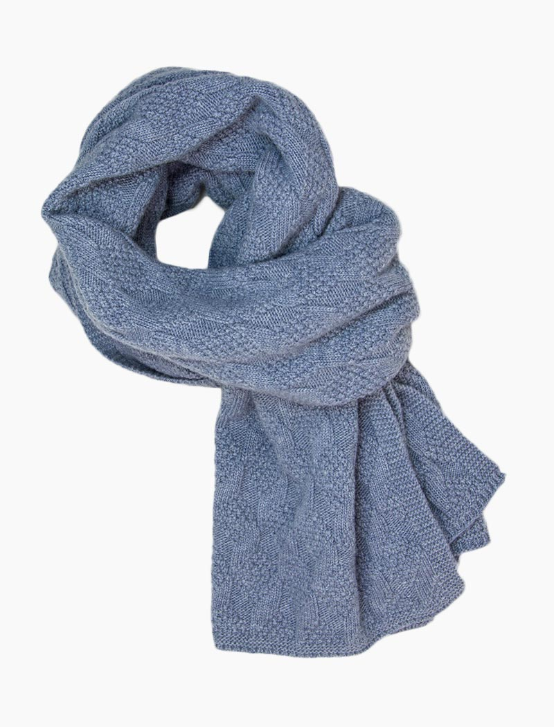 Light Blue Rhombus Wool & Cashmere Scarf | 40 Colori