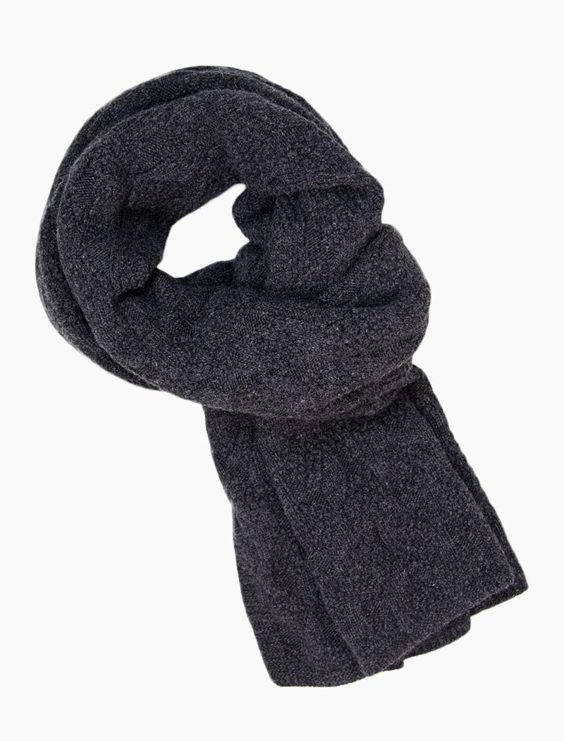 Charcoal Rhombus Wool & Cashmere Scarf | 40 Colori