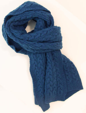 Petrol Blue Braided Wool & Cashmere Scarf