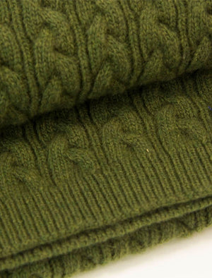 Olive Green Braided Wool & Cashmere Scarf