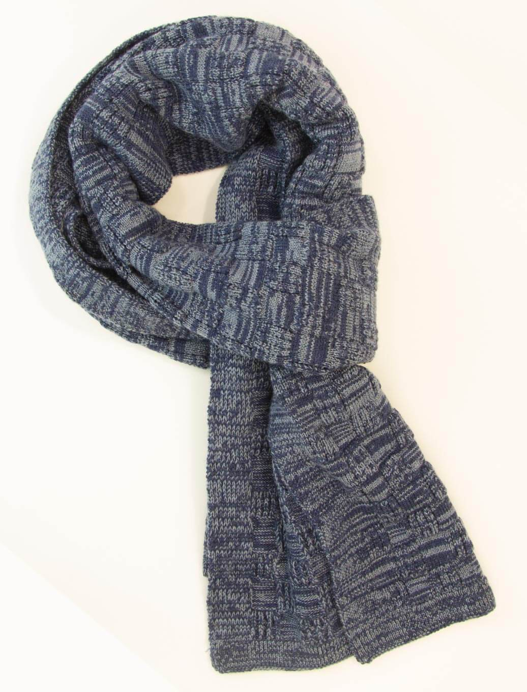 Blue Melange Checkerboard Wool Scarf | 40 Colori