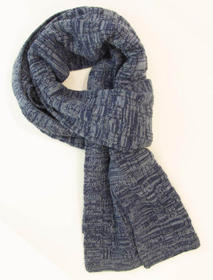 Blue Melange Checkerboard Wool Scarf