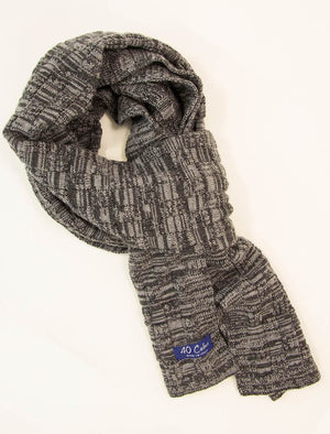 Grey Melange Checkerboard Wool Scarf