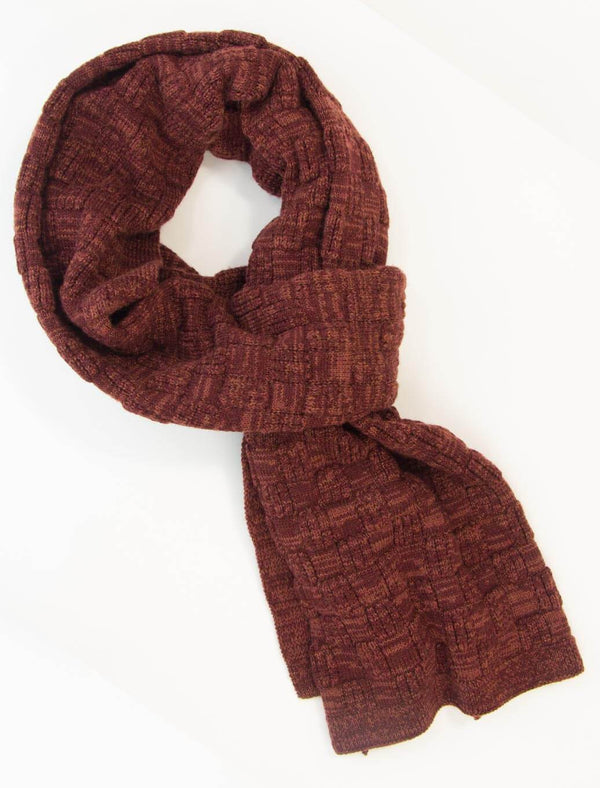 Burgundy Melange Checkerboard Wool Scarf