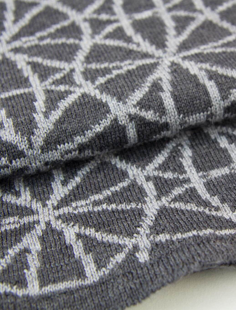 Grey Geometric Flowers Reversible Wool Scarf
