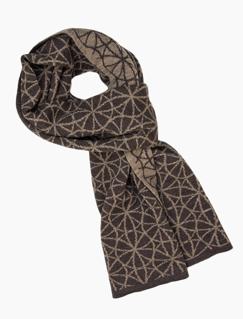 Brown Geometric Flowers Reversible Wool Scarf | 40 Colori