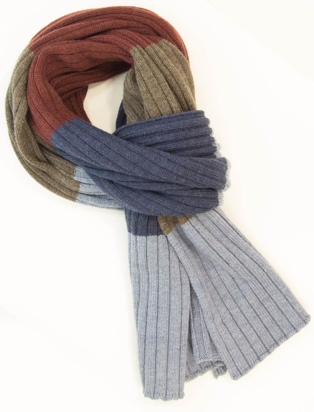 Blue Colour Blocked Ribbed Wool Scarf | 40 Colori