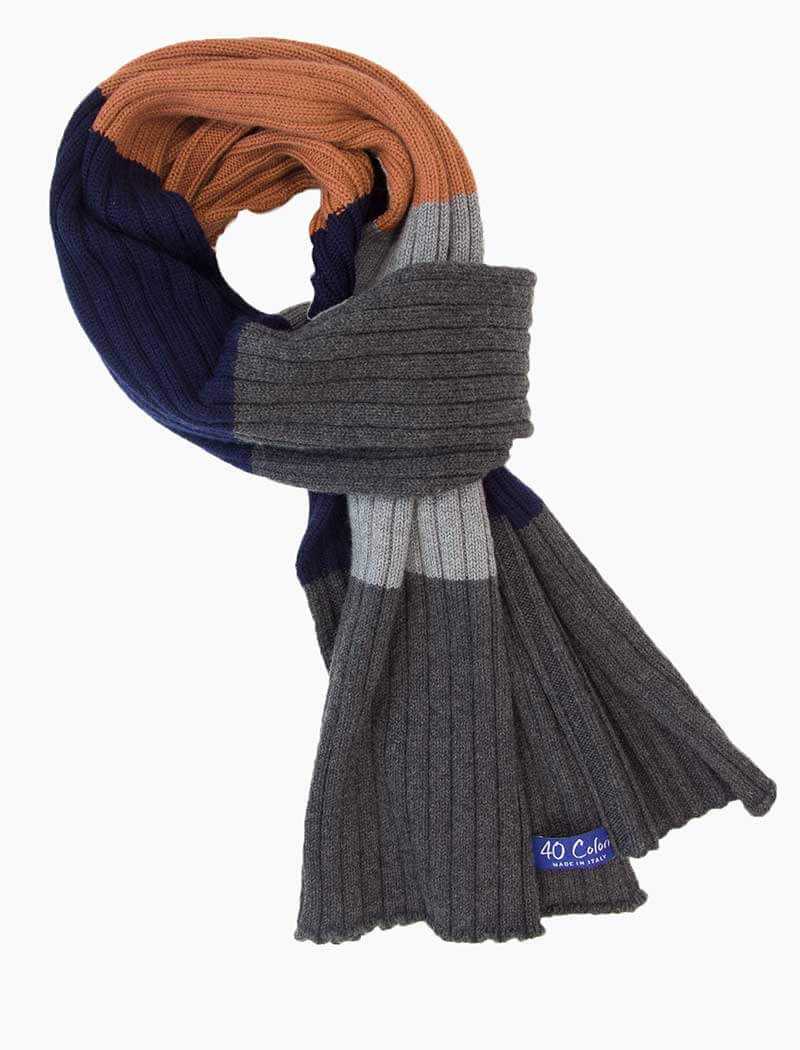 Navy & Grey Colour Blocked Ribbed Wool Scarf