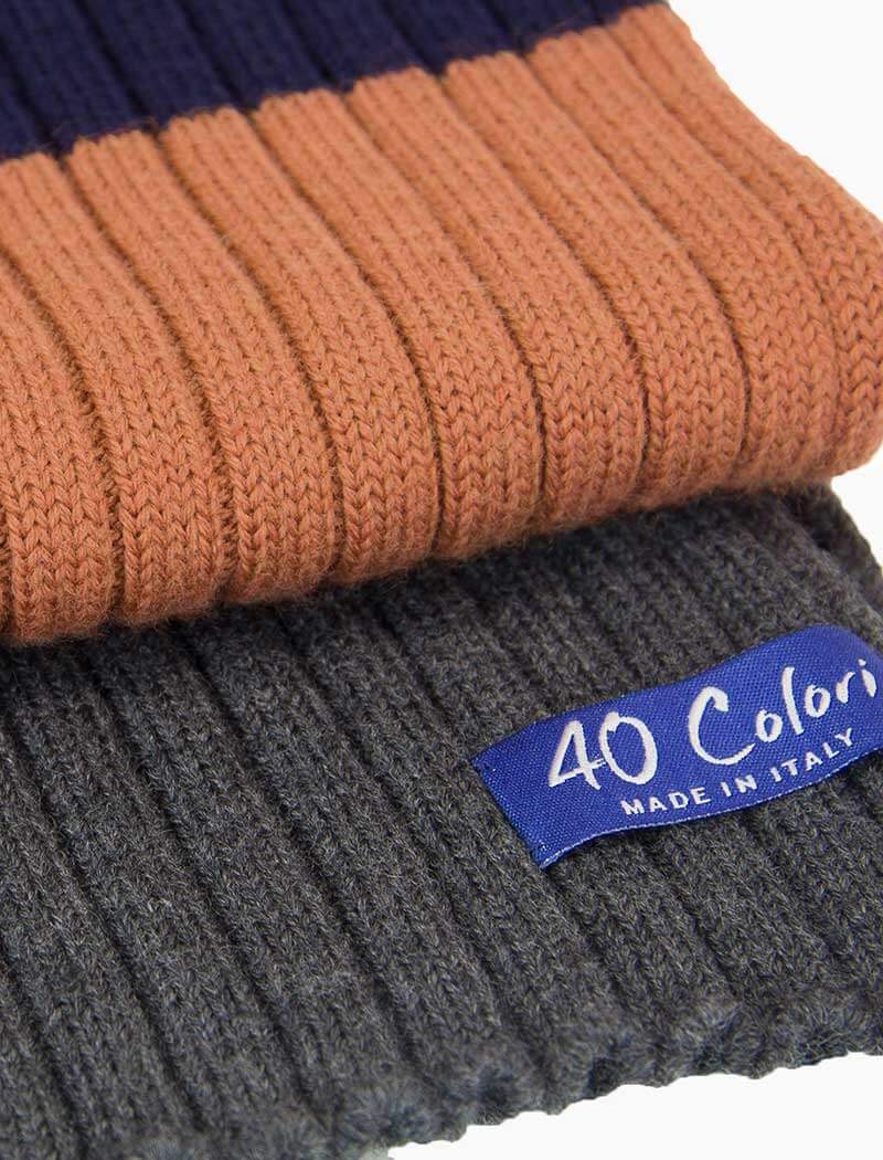 Navy Colour Blocked Ribbed Wool Scarf | 40 Colori