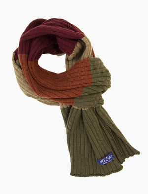 Olive Green & Rust Colour Blocked Ribbed Wool Scarf