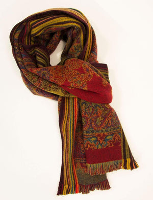 Red & Orange Large Paisley Woven Wool Scarf