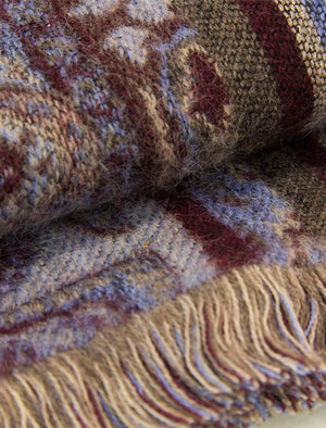 Burgundy Paisley Woven Wool Scarf