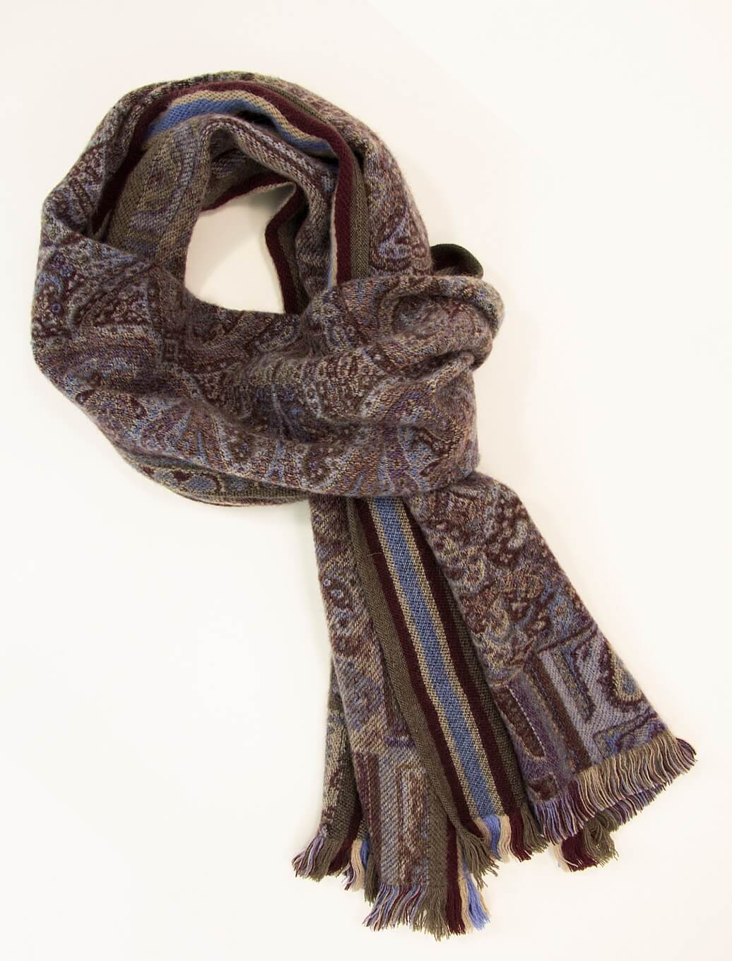 Burgundy Paisley Woven Wool Scarf | 40 Colori