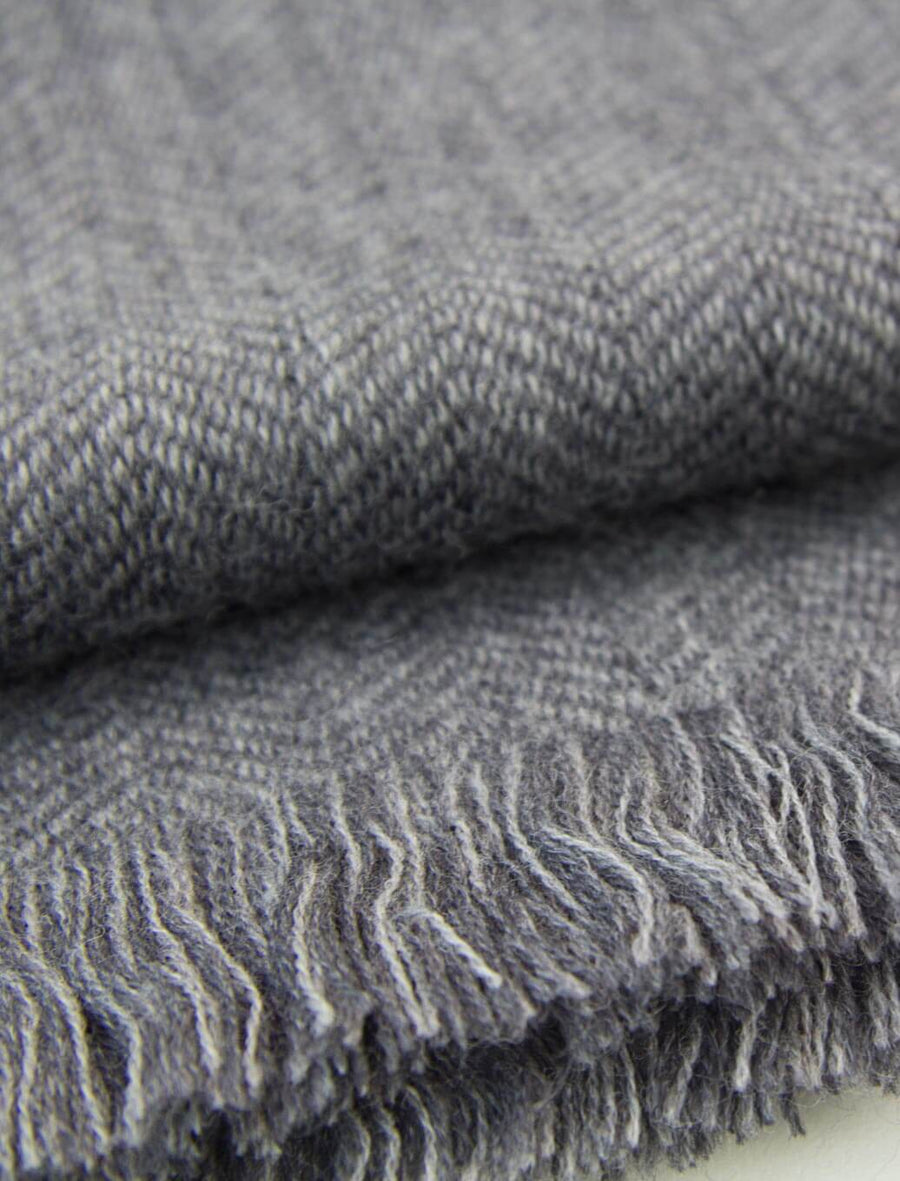 Charcoal & Grey Herringbone Woven Wool Scarf