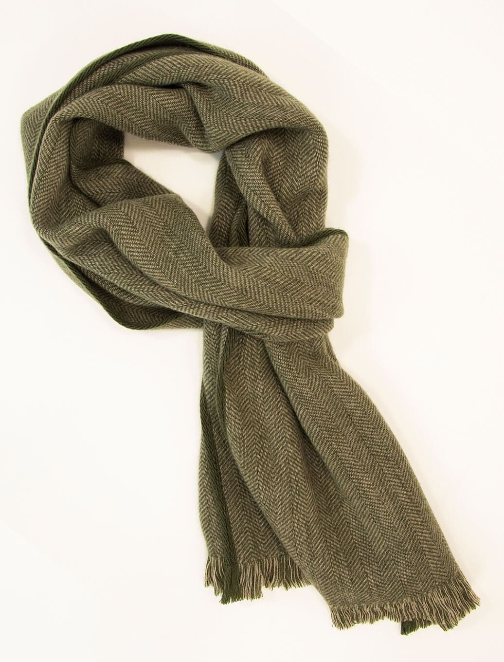 Green & Beige Herringbone Woven Wool Scarf | 40 Colori