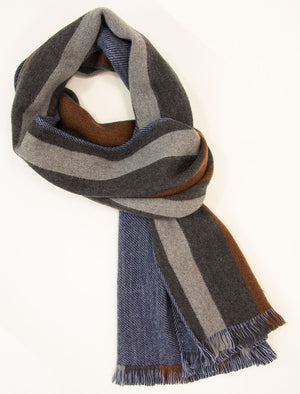Grey Multi Striped Woven Wool Scarf | 40 Colori