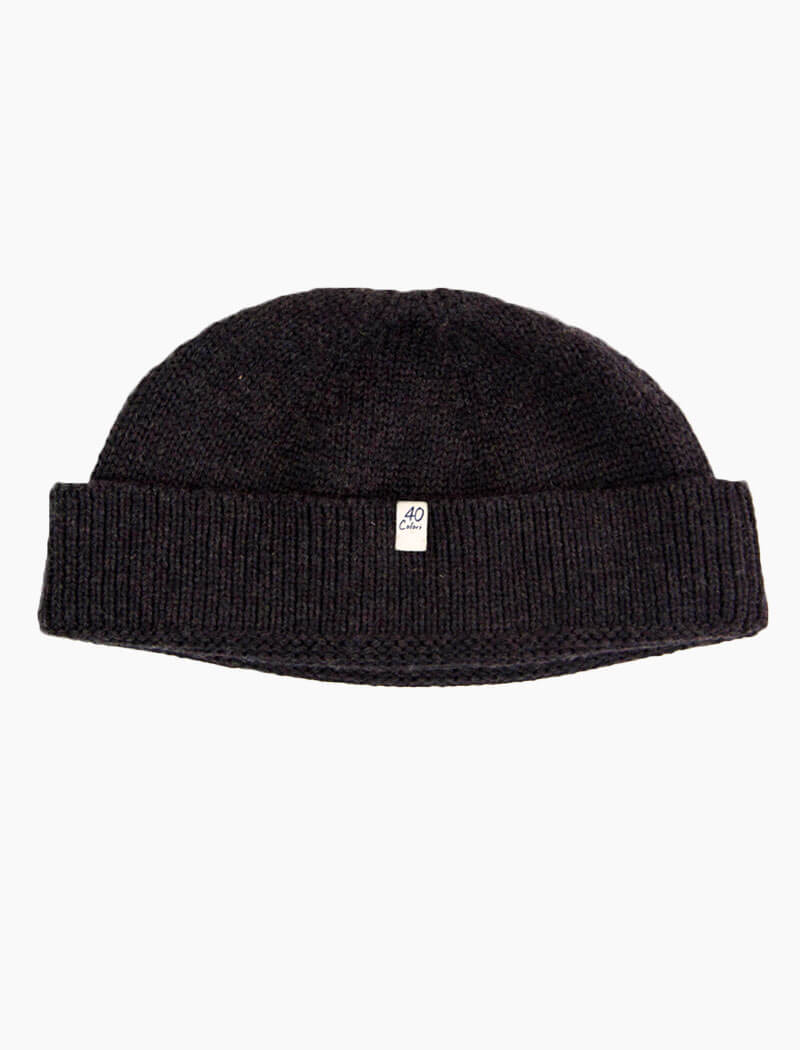 Charcoal Solid Wool Fisherman Beanie | 40 Colori