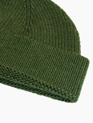 Olive Green Solid Wool Fisherman Beanie