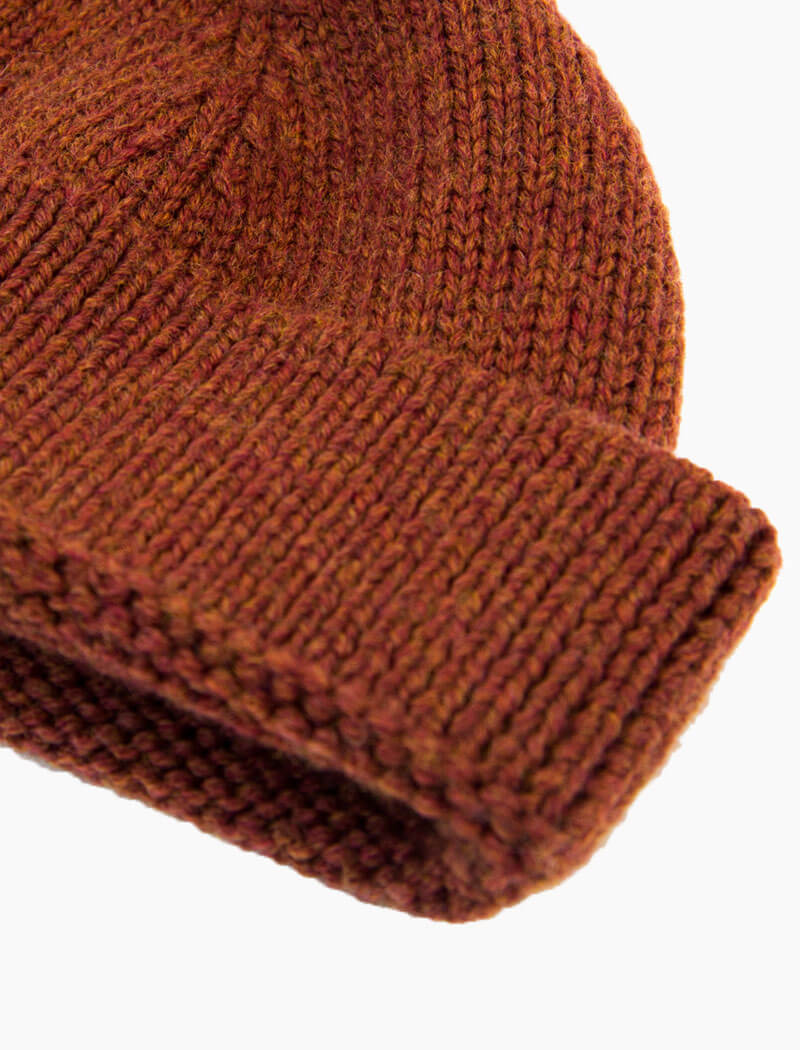 Rust Solid 100% Wool Fisherman Beanie | 40 Colori
